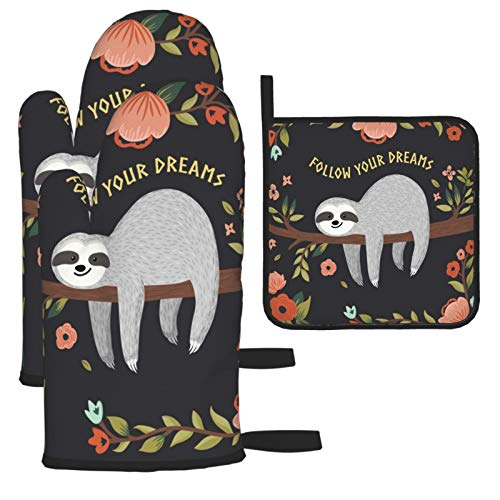 Sloth Oven Mitts and Hot Pad