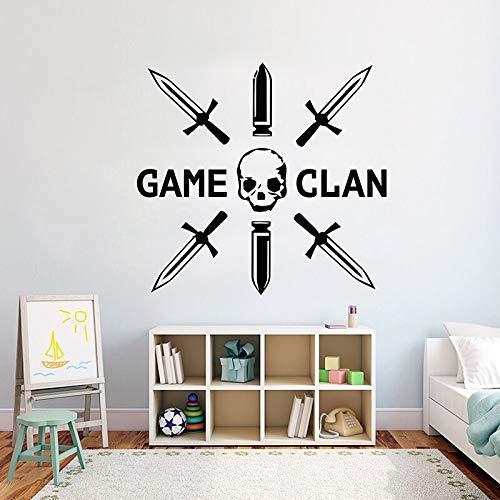 Wandaufkleber Schwerter Schädel Wettbewerbsspiel Clan LOL Gamer Eat Sleep Controller Kinder Schlafzimmer Junge Spielzimmer Dekoration Aufkleber Vinyl Wandkunst Wandbild Poster