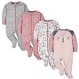 Gerber Baby Girls' 4 Pack Sleep 'N Play Footie, Bear Pink, Newborn