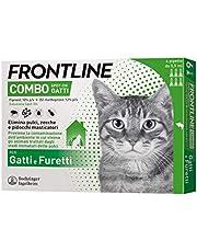 Frontline Combo, 6 Pipette, Antiparassitario per Gatti, Gattini e Furetti di Lunga Durata, Protegge da Pulci, Zecche, Uova, Larve e Anche la Casa, Antipulci in Confezione da 6 Pipette da 0.5 ml