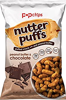 popchips Nutter Puffs Peanut Butter & Chocolate 4 Oz Bags  Pack Of 12