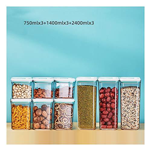 NYKK Frischhaltedosen Durchsichtiger Kunststoff Home Storage verschlossene Glas-Flaschen, Airtight Lebensmittel Lagerbehälter mit Deckeln, Lagerung Mehrzweck-Container Aufbewahrungsdosen mit Deckel