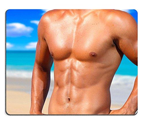 MSD Caucho Natural Gaming Mousepad imagen ID: 8033587Sexy Caucásico Fit Man posando en una playa