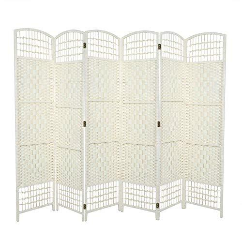 lyrlody Paravent, opvouwbare scheidingswand met 6 panelen, inkijkbescherming voor slaapkamer, woonkamer, kantoor en ingang crème