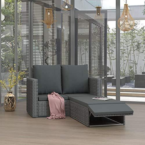Canapé de jardin en rotin gris | Canapé d'extérieur 2 places avec repose-pieds | Meuble moderne avec coussins