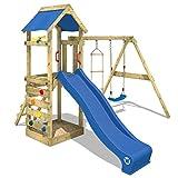 WICKEY Aire de jeux FreeFlyer Portique de jeux en bois Cabane pour enfants avec balançoire, toboggan bleu, mur...
