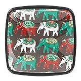 Perillas de cristal para cajones étnicos con diseño de elefantes indios, color verde, blanco y rojo, para cajón, tiradores de gabinete (4 unidades)
