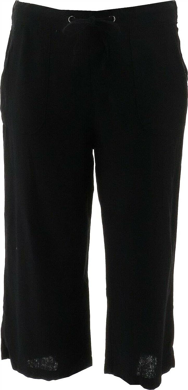 Denim& Co Naturals Linen Blend Crop Pants A377306 Black