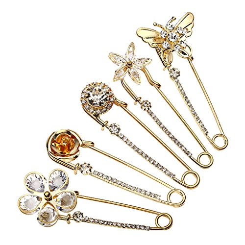 Top Plaza Mothers Day Gift Pack of 5 Women Fashion Rhinstone Crystal Accented Golden Safety Pin Jewelry Brooch Breastpin - Catch Scarf,Lapel or Collar(#1)