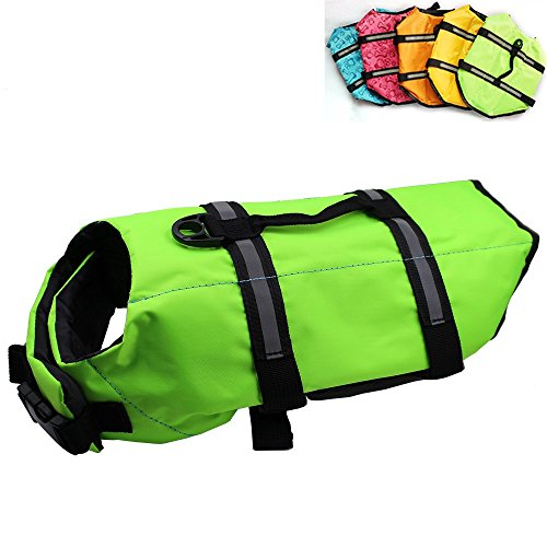 Dog Life Jacket Easy-Fit Adjustable Belt Pet Saver Swimming Safety Swimsuit Preserver with Reflective Stripes for Doggie (XS, Green)