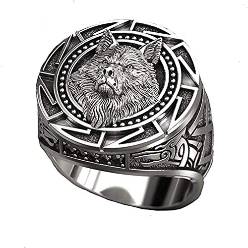 Wolf Head Ring With Totem Ring Winter Wolf Carving Ring Fashionable and Comfortable Viking Warrior Domineering King Amulet Ring Celtic Punk Jewelry Gift 7-12 Men and Women