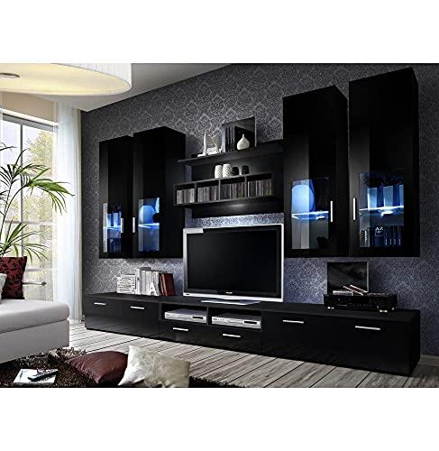 ASM Ensemble Meuble TV Mural - Lyra Night - 300 Cm X 190 Cm X 45 Cm - Noir