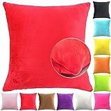 Easondea Fundas de Cojín de Color sólido Square Decorativos para Sofá Cama Coche Fundas Cojines Funda de Almohada Rojo 70X70CM