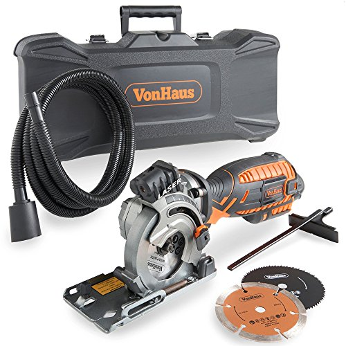 VonHaus 5.8 Amp Compact Circular Saw Kit with Laser Guide, 4,500 RPM, Plunge Function, 9.8ft Power Cord, Extraction Hose, Storage Case and 3x Saw Blades for Wood, Metal, Tile and Plastic Cutting