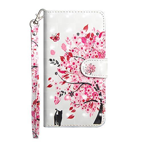 Sunrive Hülle Für ZTE Blade A512, Magnetisch Schaltfläche Ledertasche Schutzhülle Etui Leder Hülle Cover Handyhülle Tasche Schalen Lederhülle(Baum Katze)
