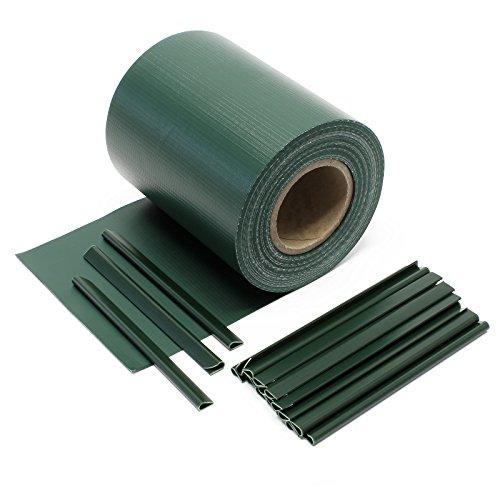 Wiltec Sichtschutz Streifen, 35mx19cm grün aus PVC 450g/m², mit 20 Clips, Zaunfolie