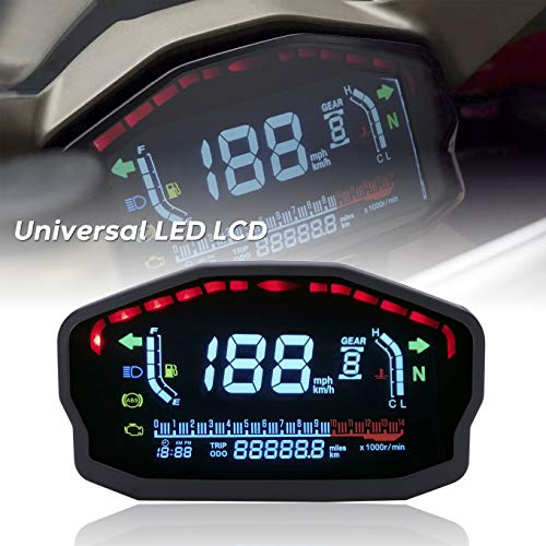 Universal Motorcycle LED LCD Speedometer Digital Odometer Backlight For 1,2,4 Cylinders For BMW Honda Ducati Kawasaki Yamaha(Professional Installation Required)