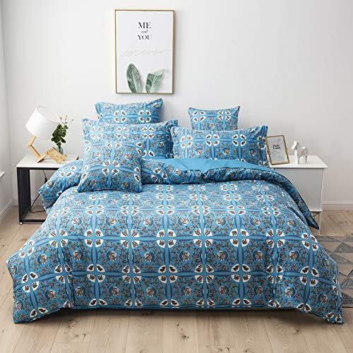 Softta Twin Size Vintage Zebra Print Pattern Bohemia Bedding Sets Stamp Style Square Geometry Baby Blue Background for Teen Girls 3Pcs Duvet Cover Sets Modern Zipper Closure Bedding Collection