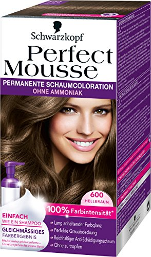 Perfect Mousse permanente Schaumcoloration, 600 Hellbraun, 3er Pack (3 x 1 Stück)