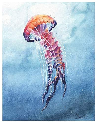 Jellyfish Painting Watercolor Art Print Handmade