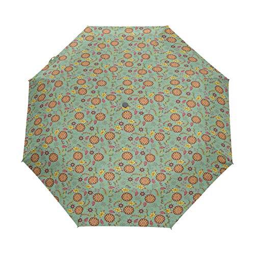 SUHETI Parapluie de Voyage Automatique Compact,Rétro Fleurs Artistiques Et Feuilles Nostalgique Printemps Fantaisie Thème Jardin Gai