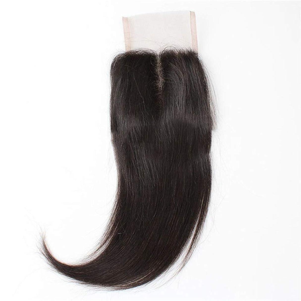 和らげる口実店員HOHYLLYA ブラジルの髪4×4フルレース前頭閉鎖9A未処理人間の髪の毛絹のようなストレートヘアミドルパートナチュラルブラック複合毛レースのかつらロールプレイングかつらロングとショートの女性自然 (色 : 黒, サイズ : 12 inch)