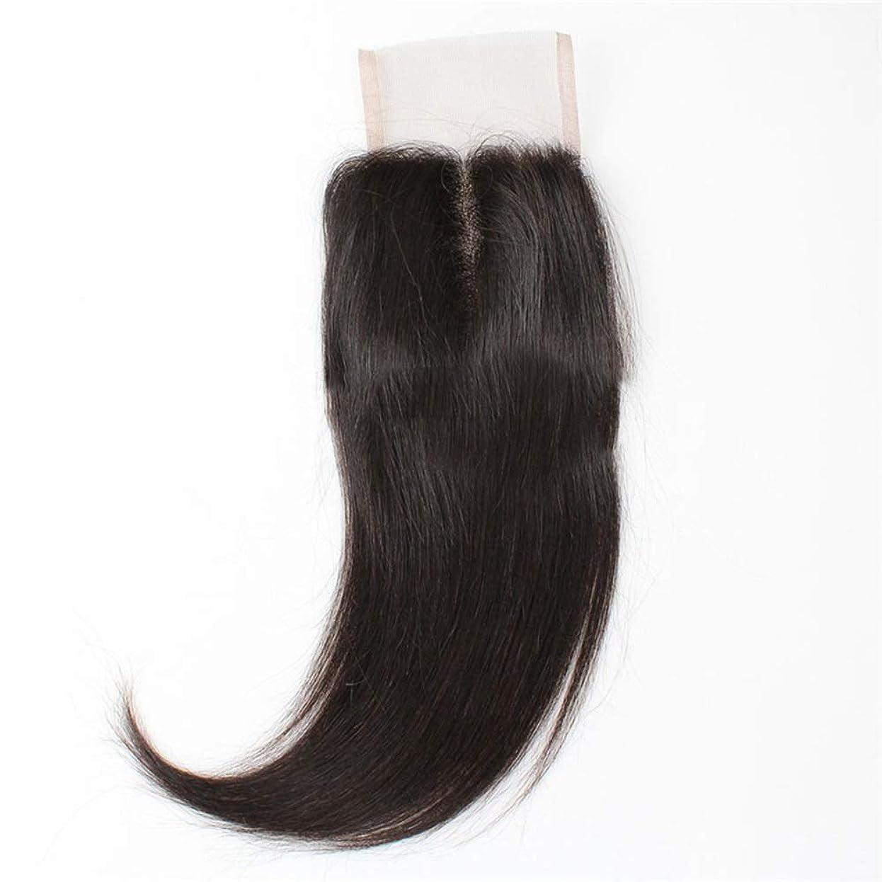 ホップセミナー億BOBIDYEE ブラジルの髪4×4フルレース前頭閉鎖9A未処理人間の髪の毛絹のようなストレートヘアミドルパートナチュラルブラック複合毛レースのかつらロールプレイングかつらロングとショートの女性自然 (色 : 黒, サイズ : 16 inch)