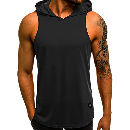 VEKDONE Men's Workout Hooded Tank Tops Sleeveless Gym Hoodies Muscle Cut Off T Shirt Vests Tops(Black,Large)