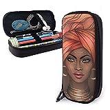 Estuche de piel sintética de gran capacidad para lápices, diseño de chica africana y guapa, organizador de papelería con cremalleras duraderas