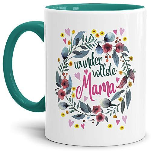 Tasse mit Spruch für Mama - Wundervollste Mama - Kaffee-Tasse/Geschenk-Idee Muttertag Geburtstag/Muttertagsgeschenk/Für Meine Mutter - Innen & Henkel Türkis