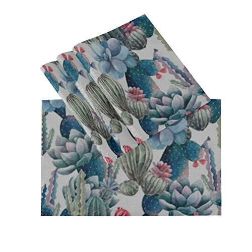 DUKAI Juego de manteles Individuales de 4, tapetes Lavables con Aislamiento termico, patron de Cactus de Acuarela 18 x 12 Pulgadas tapetes de Mesa de Cocina Mantel Individual para Mesa de Comedor