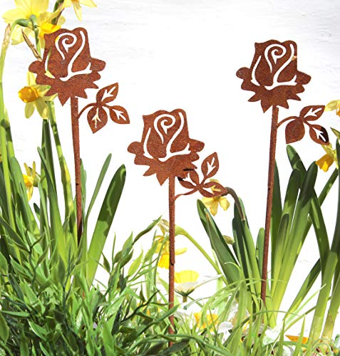 Lilienburg 3er Set Rose Roststecker Blume Gartenstecker Rost Metall (Rosen)