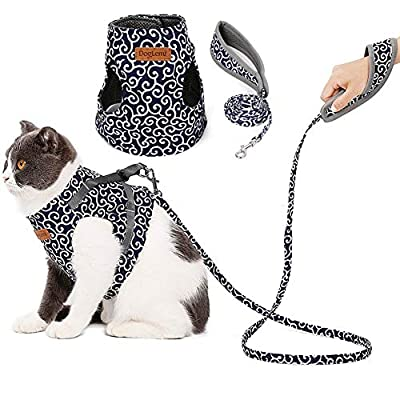 Floral Dog Cat Harness and Leash Set Escape Pro...