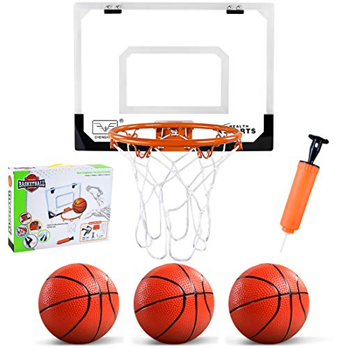 ZNCMRR Indoor Mini Basketball Hoop with 3 Balls, 16' x 12' Basketball Hoop for Door Mini Basketball Game for Kids Basketball Hoop Indoors Set, Complete with All Accessories