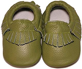 Baby Conda Handmade Green Baby Moccasins Leather Soft Sole Slip on Baby Shoes for Boys and Girls 100% Size 0-6 Months [並行輸入品]