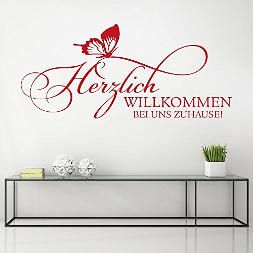 KLEBEHELD® Wandtattoo Herzlich Willkommen bei uns Zuhause   Spruch mit Schmetterling … Größe 58x26cm, Farbe schwarz