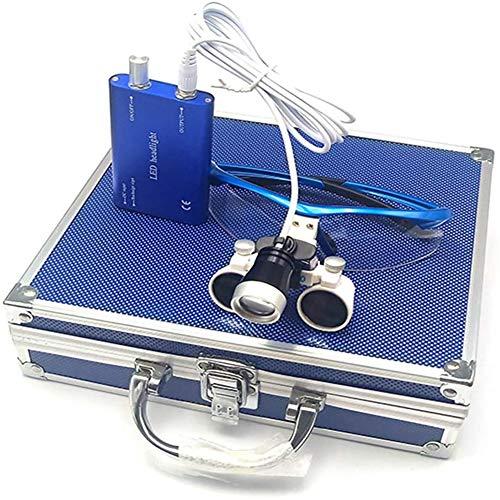 QX Gafas de Lupa con lupas de Diadema Libre de Manos Libres, lámpara de Faro de 3W LED y Caja de Aluminio para joyero quirúrgico Dental o afición