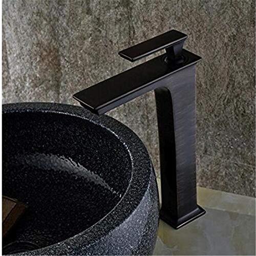 Waterkraan, draaibaar, van messing, voor wastafels, stijl in Engelse stijl, voor wastafels, gepolijst brons, mengkraan voor kranen met warme vierkant, zwart