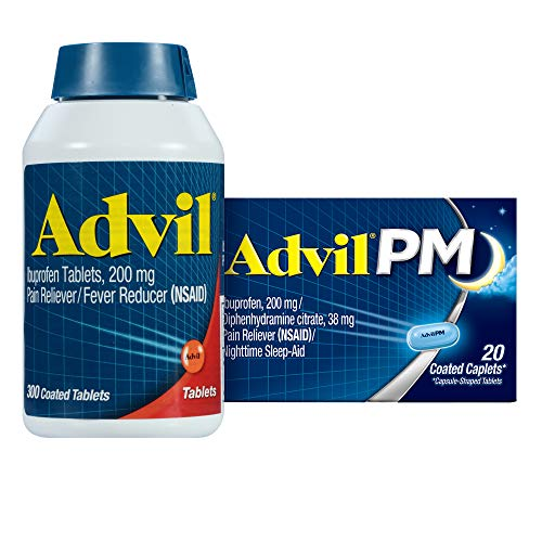 Advil + Advil PM, 200mg Ibuprofen, 25mg Diphenhydramine, Pain Reliever/Fever Reducer Coated Tablets + Nighttime Pain Reliever Coated Caplets, Home & Away Pack, Temporary Pain Relief, 300+20 PM Count