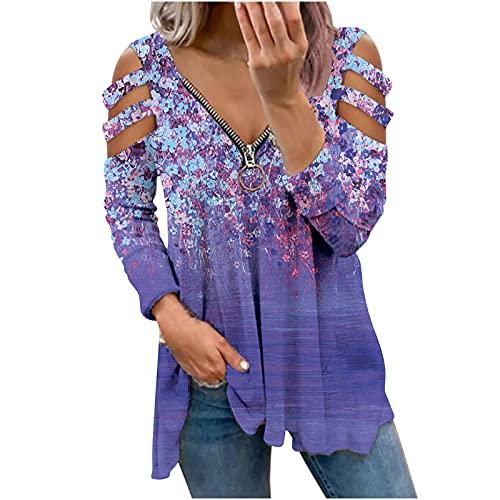 Nuevo 2021 Camiseta Manga Larga de mujer, Elegante impresión Blusa y camisa Cuello en V basic Cómodo Hueco Camiseta Suelto Tops Camisetas Largo Casual fiesta otoño primavera T-Shirt original