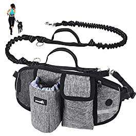 Pecute Dual Usage Dog Leads-Hands Free Dog Leads with Adjustable Waist Belt and Extra Handle Walking Bungee Leads -For Jogging, Running, Walking, Hiking