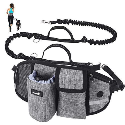 Pecute Joggingleine für Hunde, Jogging Hundeleine für große und mittelgroße Hunde, Elastische und reflektierende Laufleine, freihändige Leine mit Gürteltasche(Grau 2)