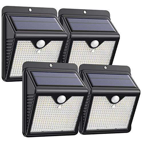 【4 Paquete】Luz Solar Exterior 150 LED, Trswyop Foco Solar Exterior con 120 ° Gran Angular Sensor de Movimiento Lámpara Solar Inalámbricas Impermeable Para Jardín, Garaje [ Clase Energética A+++ ]