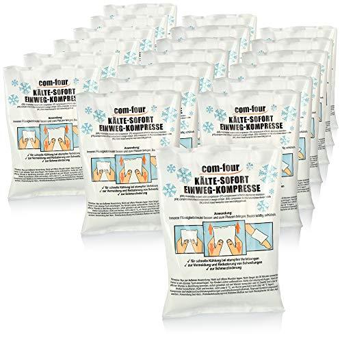 com-four® 20x Einweg Kälte-Sofort-Kompresse, Kältepack zum sofortigen Kühlen und für Erste-Hilfe-Maßnahmen, Kühlkissen zur äußerlichen Anwendung, 21 x 15 cm (20 Stück - Set 2)