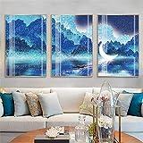 LLXXD Modern Night Lake Canvas Moon Mountain Blue HD Impresiones Pinturas Tienda Imágenes Arte de la Pared Póster Obra de Arte Decorativo para el hogar 50x70cmx3 (sin Marco)