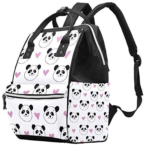 Bolsa de pañales con diseño de oso panda, color blanco, rosa, con aislamiento, impermeable, de viaje, gran capacidad, para mamá, mochila multifunción, duradera y elegante