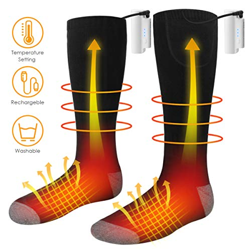 JulyPanny Heated Socks, Unisex Battery Powered Comfortable Thermo-Socks with 3 Heating Settings, Rechargeable Heated Socks for Motorcycle/Chronically Cold Feet/Winter Sport/Outdoor (Medium)