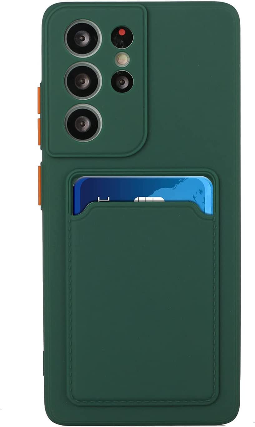 Silicone Wallet Case for Samsung Galaxy M02 - Slim Silicone Protective Case with Credit Card Holder Sleeve, Shockproof Wallet Card Pocket Cover for Women Men (Green)