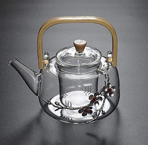 Glas-Teekanne Hitzebeständig Verdicktes Erhitzen mit offener Flamme Große temperaturbeständige kochende Teekanne Bambusgriff Balken Pflaumenwassertopf 1000 ml Mit Glas-Teesieb, für Zuhause, Büro, Au