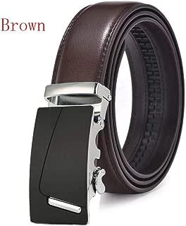 Men Belt Brown Leather Belt Luxury Automatic Buckle Ratchet Leather Belt